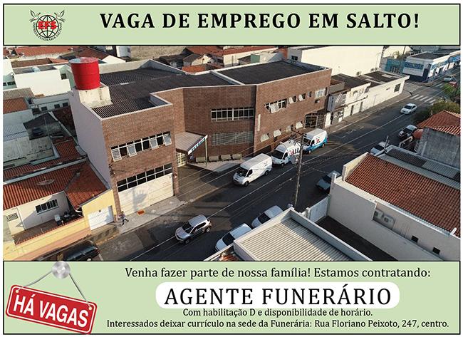 Funerária Saltense tem vaga para agente funerário e pedreiro de manutenção