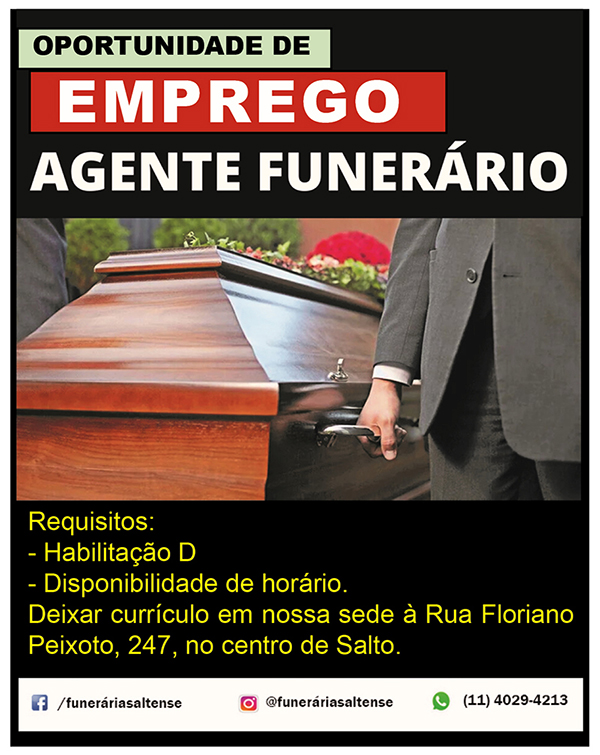 Funerária Saltense contrata agente funerário